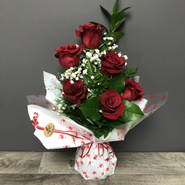 Bouquett'o 6 roses rouges