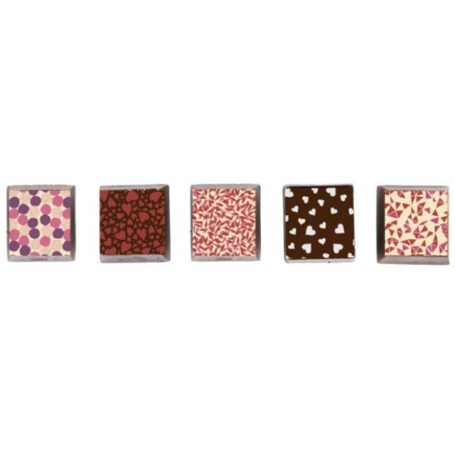 5 morceaux de chocolat St-Valentin