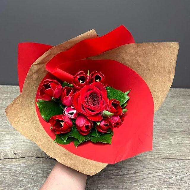 Bouquet je t'aime tulipes et rose