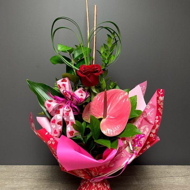 Une rose et des cœurs bouquett'o